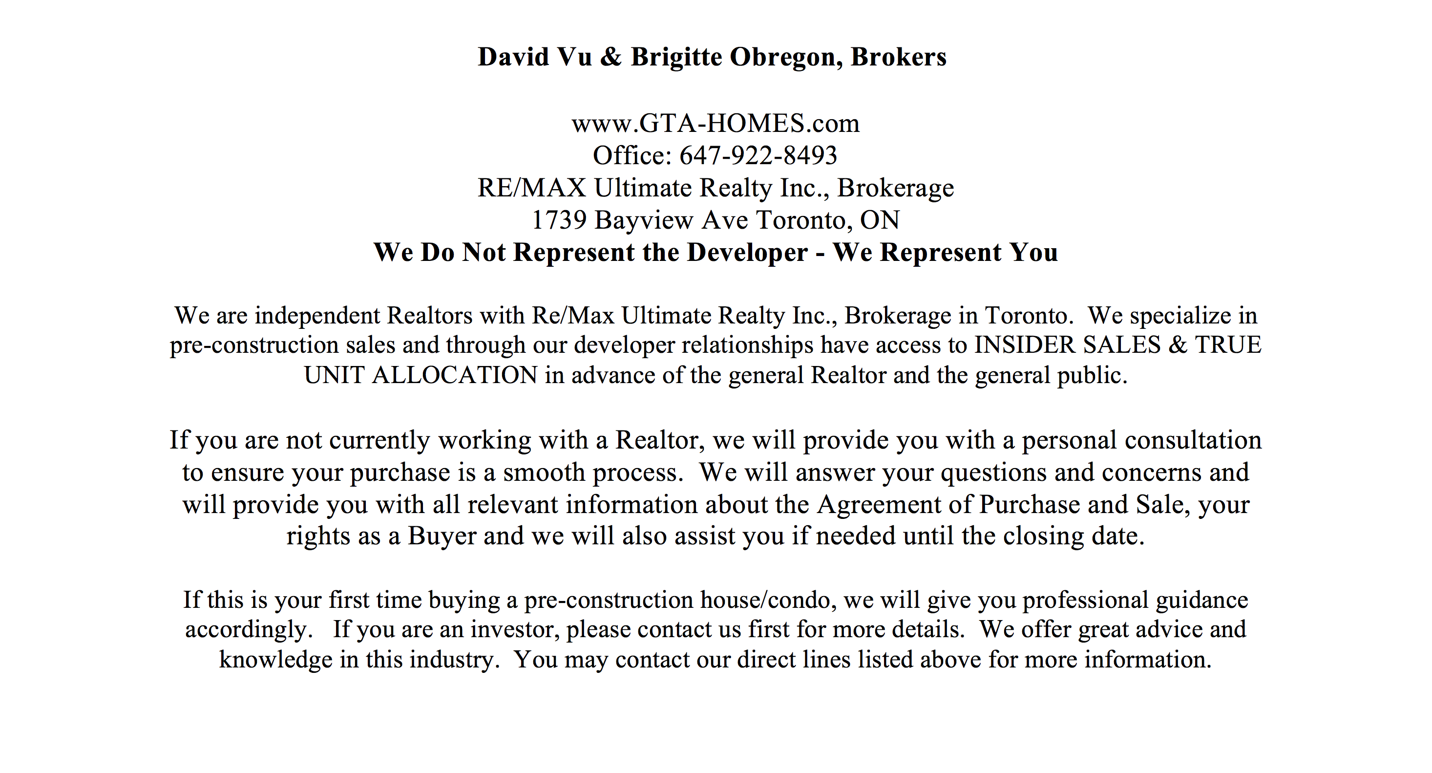 Pre-construction Sales Agents Info